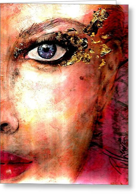 Face Of A Woman Greeting Cards - Golden Eyes Greeting Card by P J Lewis