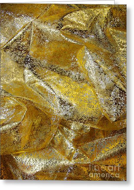 Shiny Fabric Greeting Cards - Golden Fabric Greeting Card by Carlos Caetano