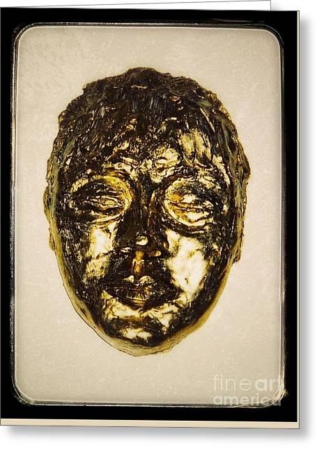 Dancer Ceramics Greeting Cards - Golden Face Frame Greeting Card by Joan-Violet Stretch