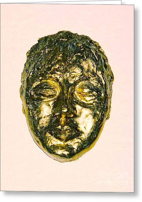 Gold Sculptures Greeting Cards - Golden Face Greeting Card by Joan-Violet Stretch