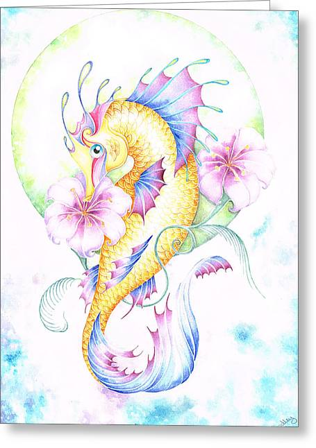 Water Scape Greeting Cards - Golden Fairy Seahorse Greeting Card by Heather Bradley