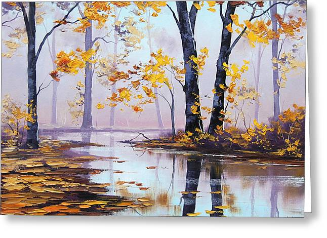 Blaze Greeting Cards - Golden Fall Greeting Card by Graham Gercken