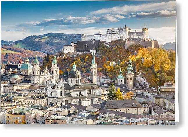 Salzburg Greeting Cards - Golden Fall in Salzburg Greeting Card by JR Photography