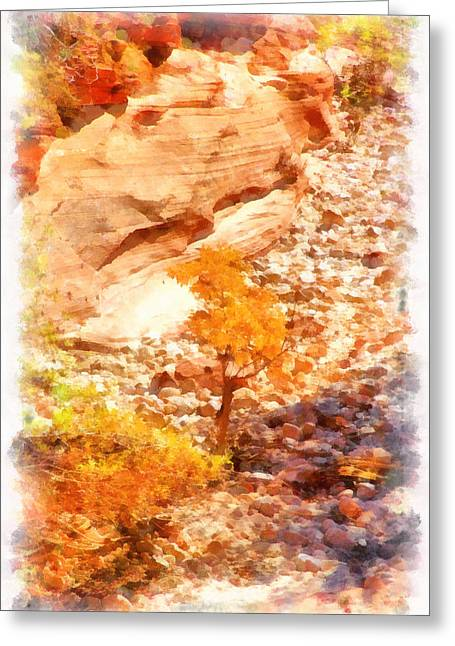 Crazy Quilt Greeting Cards - Golden Fall In Zion Greeting Card by Viktor Savchenko