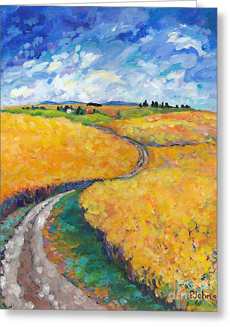 Impressionistic Greeting Cards - Golden Fields II middle panel of triptych Greeting Card by Peggy Johnson