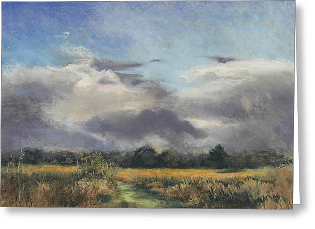 Stormy Weather Pastels Greeting Cards - Golden fields Greeting Card by Kathryn Dalziel