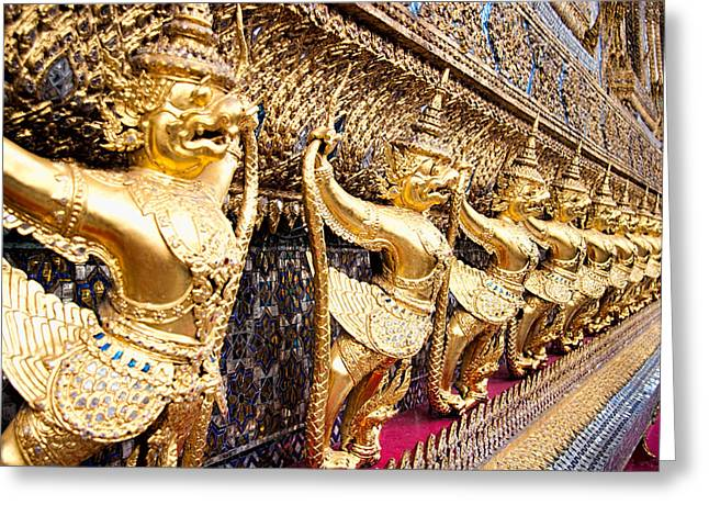 Famous Figures Greeting Cards - Golden Figures in Bangkok  Greeting Card by David Smith