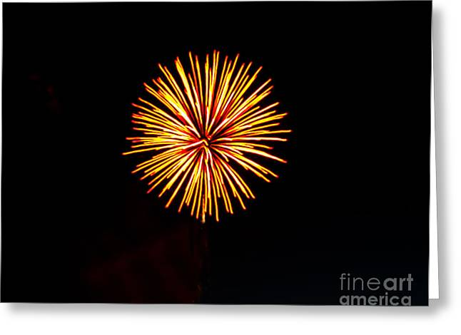 Purple Fireworks Greeting Cards - Golden Fireworks Flower Greeting Card by Robert Bales