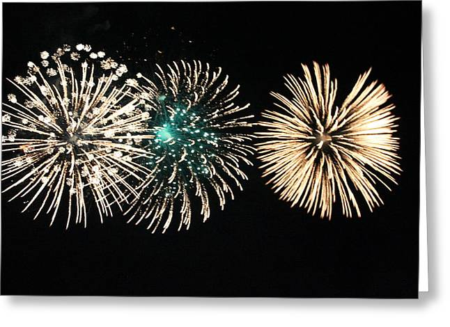 4th July Photographs Greeting Cards - Golden Fireworks Greeting Card by Mariah Allen
