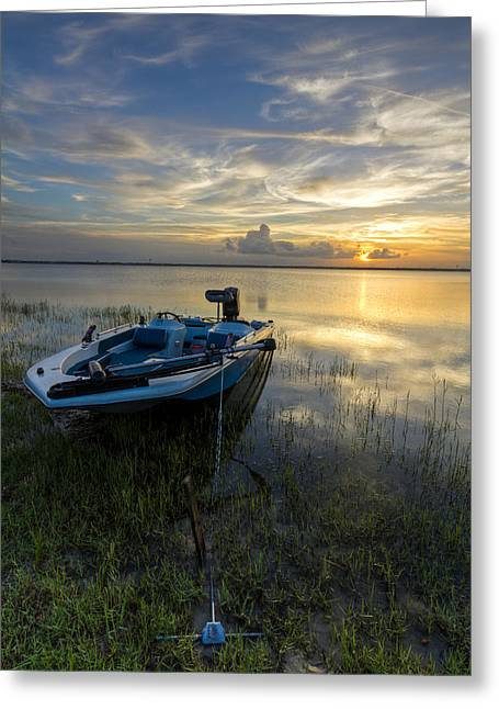 Canoe Photographs Greeting Cards - Golden Fishing Hour Greeting Card by Debra and Dave Vanderlaan