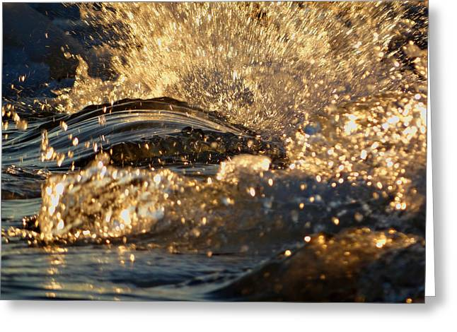 Dennis Ma Photographs Greeting Cards - Golden Flaked Splash Greeting Card by Dianne Cowen