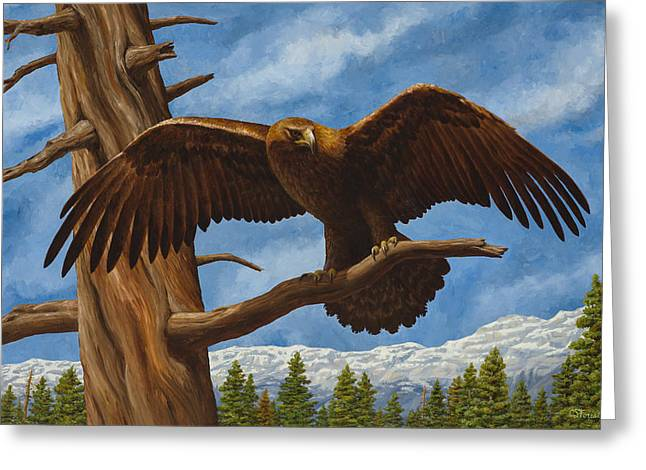Golden Eagle Greeting Cards - Golden Flex Greeting Card by Crista Forest