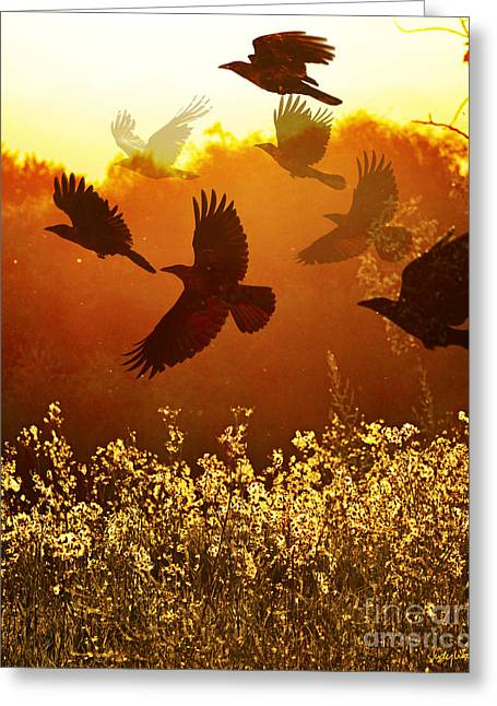Golden Flight Greeting Card by Judy Wood