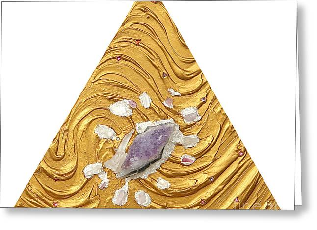 Spiritual Art Reliefs Greeting Cards - Golden flow creator Greeting Card by Heidi Sieber