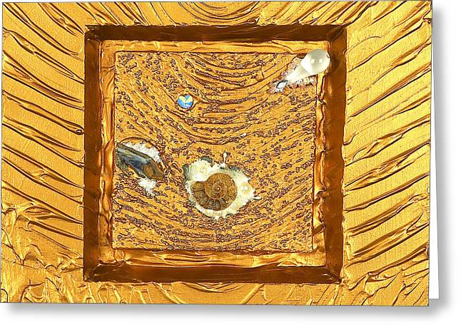 Spiritual Art Reliefs Greeting Cards - Golden flow highest source Greeting Card by Heidi Sieber