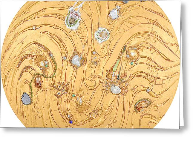 Golden Reliefs Greeting Cards - Golden flow into harmony and beauty Greeting Card by Heidi Sieber