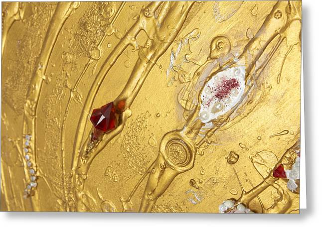 Golden Reliefs Greeting Cards - Artscape No. 1 Golden flow Mozart detail Greeting Card by Heidi Sieber
