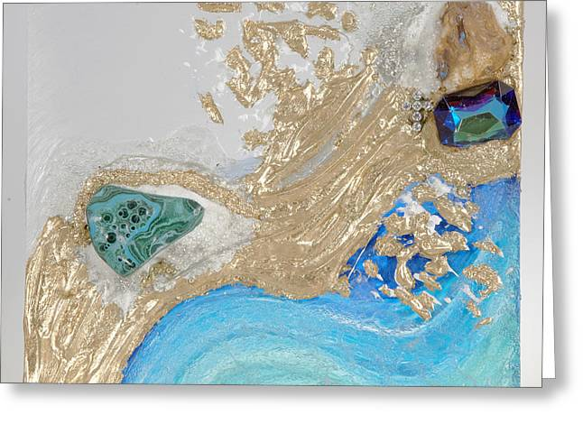 Flow Glass Art Greeting Cards - Golden flow of abundance Greeting Card by Heidi Sieber