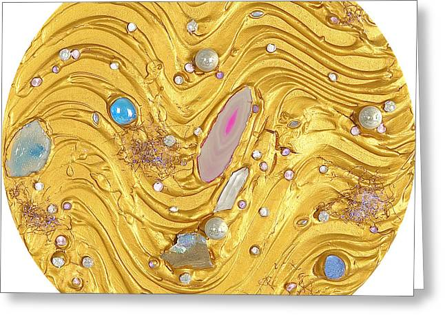 Rock Reliefs Greeting Cards - Golden flow of gems Greeting Card by Heidi Sieber