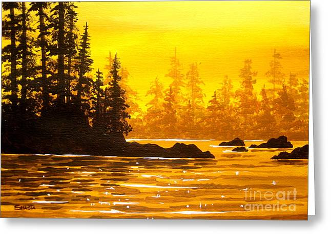 Disney Artist Greeting Cards - Golden  Flow  Greeting Card by Shasta Eone
