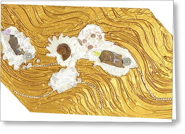 Stream Reliefs Greeting Cards - Golden flow stream Greeting Card by Heidi Sieber
