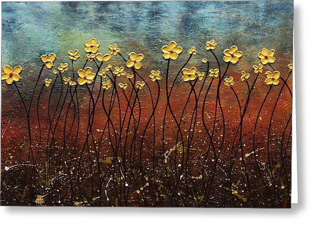 Modern Flowers Greeting Cards - Golden Flowers Greeting Card by Carmen Guedez