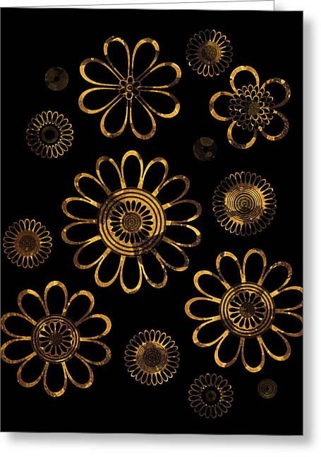 Art Nouveau Style Greeting Cards - Golden Flowers Greeting Card by Frank Tschakert