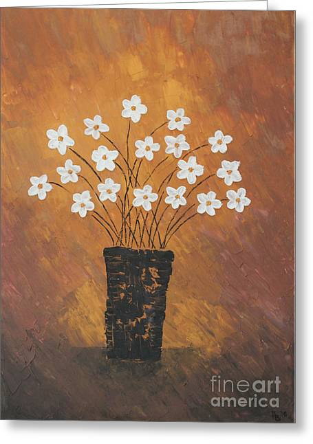 Golden Flowers Greeting Card by Home Art