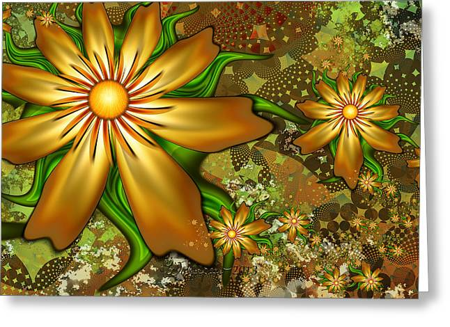 Golden Flowers Greeting Card by Peggi Wolfe