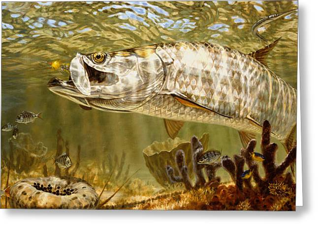 Underwater View Paintings Greeting Cards - Golden Fly Tarpon Greeting Card by Don  Ray