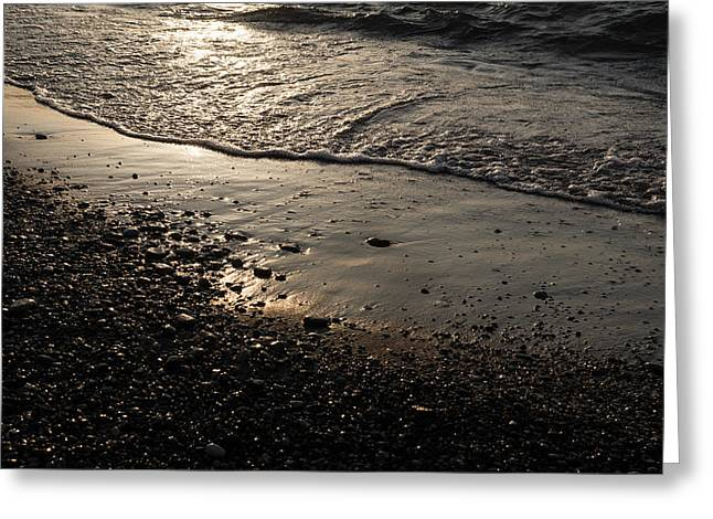 Sand Patterns Greeting Cards - Golden Foam and Pebbles - Early Light at the Shore Greeting Card by Georgia Mizuleva