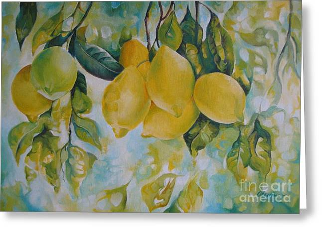 Best Sellers -  - Fruit Tree Art Greeting Cards - Golden fruit Greeting Card by Elena Oleniuc