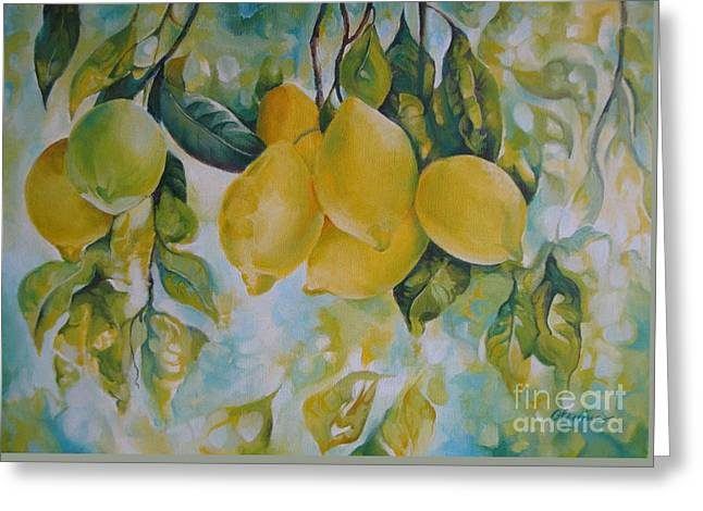 Lemon Art Paintings Greeting Cards - Golden fruit Greeting Card by Elena Oleniuc