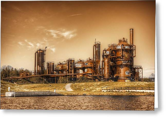 Manufacturing Greeting Cards - Golden Gas Works Greeting Card by Spencer McDonald