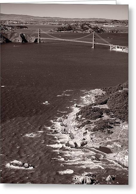 Pacific Ocean Bay Greeting Cards - Golden Gate Aloft B W Greeting Card by Steve Gadomski