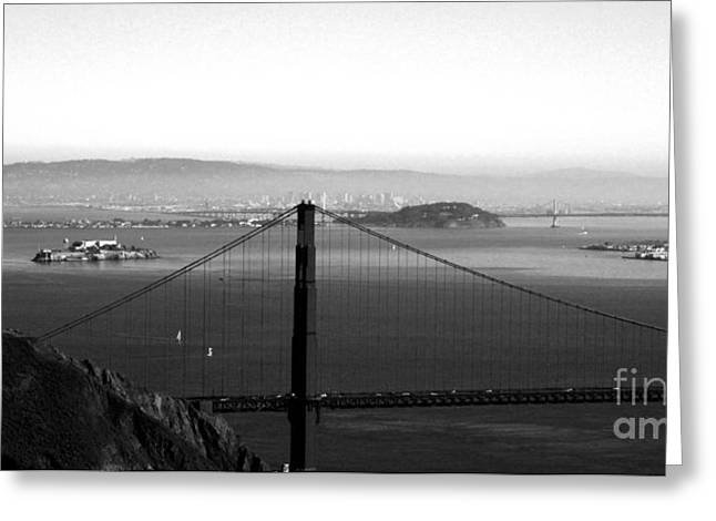 Fog Mixed Media Greeting Cards - Golden Gate and Bay Bridges Greeting Card by Linda Woods