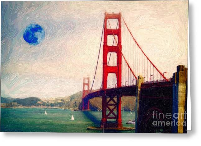 Best Sellers -  - Nature Greeting Cards - Golden Gate and Full Moon Greeting Card by Celestial Images