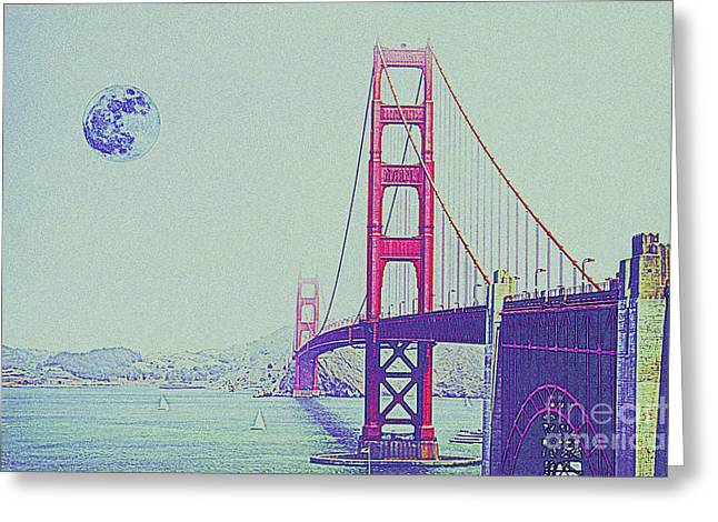 Historic Architecture Mixed Media Greeting Cards - Golden Gate and Full Moon Greeting Card by Celestial Images