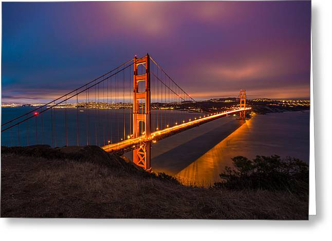 Marin County Greeting Cards - Golden Gate at Twilight Greeting Card by Mike Lee