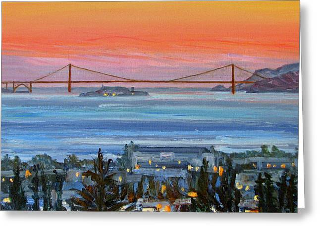 Oakland Paintings Greeting Cards - Golden Gate at Twilight Greeting Card by Robert Gerdes