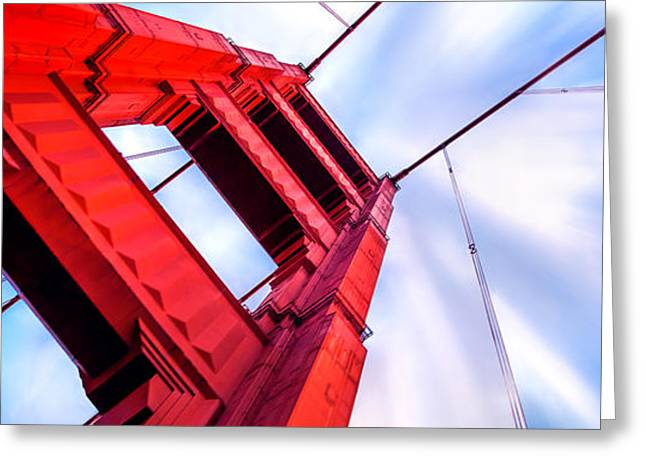Looking Up Greeting Cards - Golden Gate Boom Greeting Card by Az Jackson