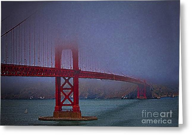 Sausalito Greeting Cards - Golden Gate Bridge  ... Greeting Card by Chuck Caramella