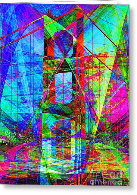 San Francisco Bay Digital Greeting Cards - Golden Gate Bridge Abstract 7D14512 Greeting Card by Wingsdomain Art and Photography