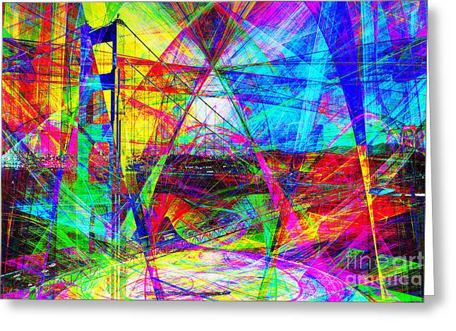 San Francisco Bay Digital Greeting Cards - Golden Gate Bridge Abstract 7D14516 Greeting Card by Wingsdomain Art and Photography