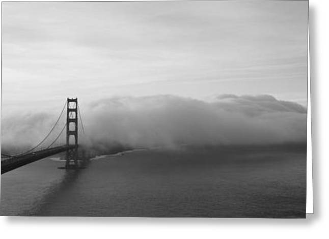 Foggy Day Greeting Cards - Golden Gate Bridge And Fog San Greeting Card by Panoramic Images