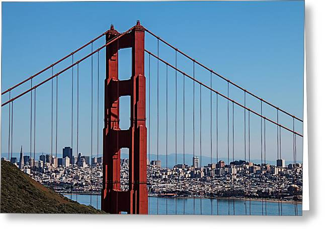Golden Gate Greeting Cards - Golden Gate Bridge and San Francisco Greeting Card by Garry Gay