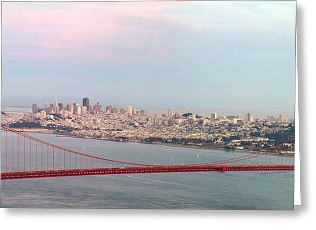 Sausalito Greeting Cards - Golden Gate Bridge and San Francisco Skyline Greeting Card by JPLDesigns