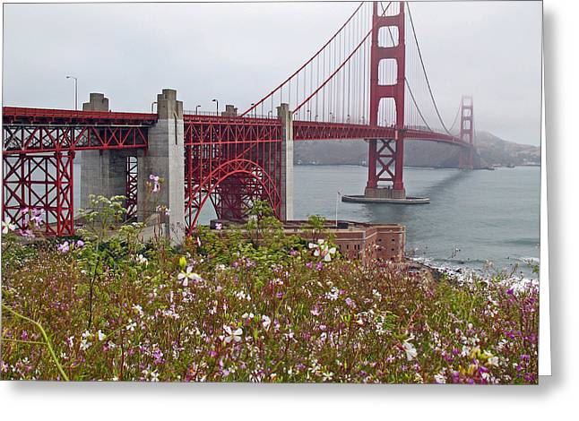 Sausalito Greeting Cards - Golden Gate Bridge and Summer Flowers Greeting Card by Connie Fox