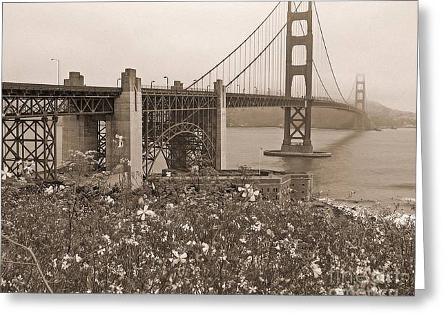 Sausalito Greeting Cards - Golden Gate Bridge and Summer Flowers in Sepia Greeting Card by Connie Fox