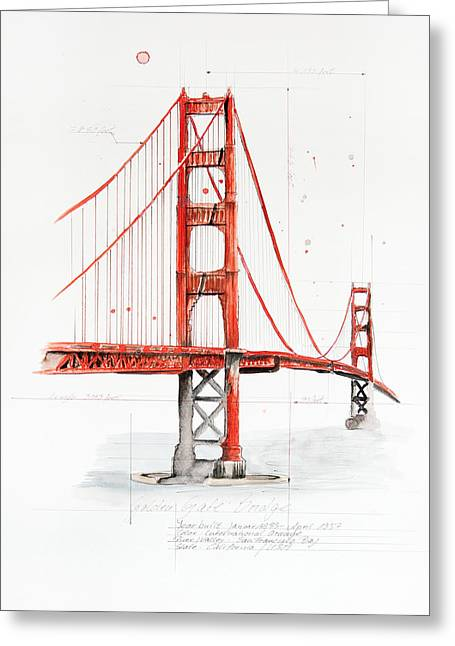 Golden Gate Bridge Greeting Card by Astrid Rieger